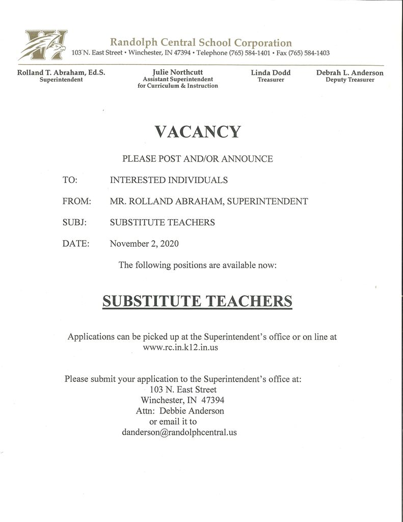 RCSC Substitute Teachers Needed