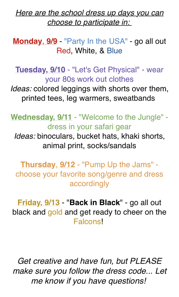 Dress up days.