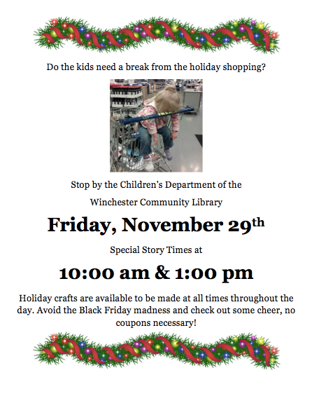 Winchester Public Library Black Friday