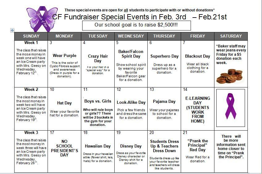 Cystic Fibrosis Fundraiser Dress Up Days