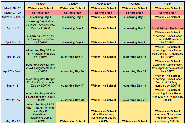 eLearning Schedule