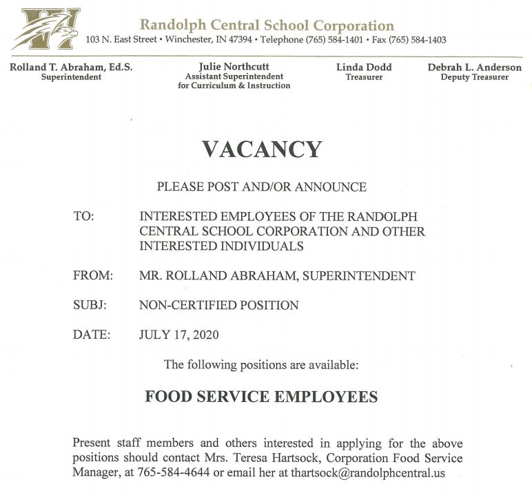 Cafeteria Workers Needed